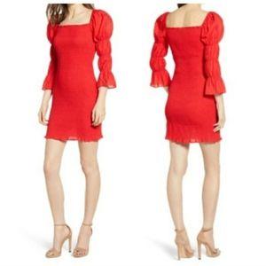 NEW JOA Puff Court Puff Sleeve Bodycon Mini Dress